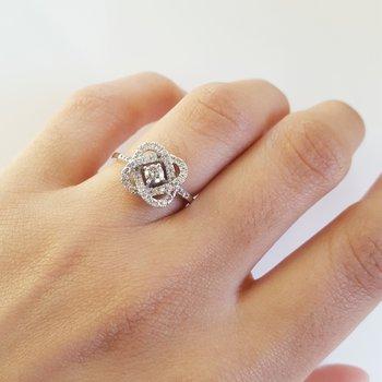 Diamond Infinity Love Heart Knot Promise Ring in 14k White Gold (1/2ctw)