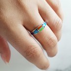 Arizona Turquoise and Inlaid Jewelry Multicolored Tapered Ring