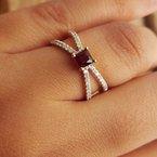 Arizona Anthill Garnet Gold Jewelry Split Shank X Ring
