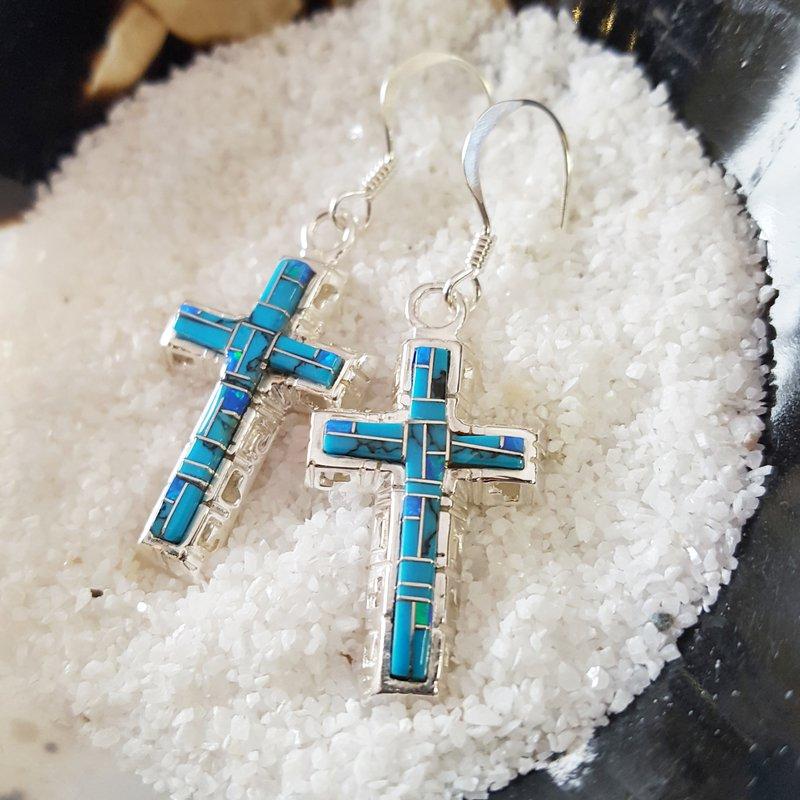 Arizona Turquoise and Inlaid Jewelry Modern Cross Earrings