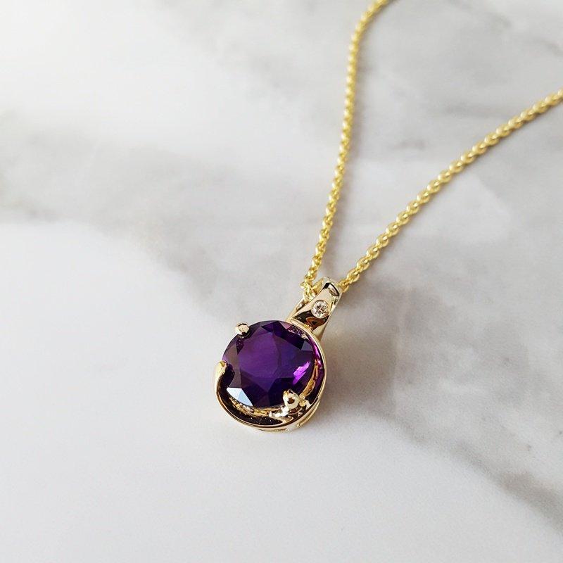 Arizona Amethyst™ Gold Jewelry Curved Bale Pendant