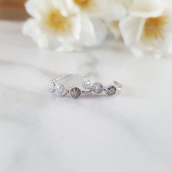 Diamond Triple Halo Cluster Earrings in 14k White Gold (⅛ ctw)