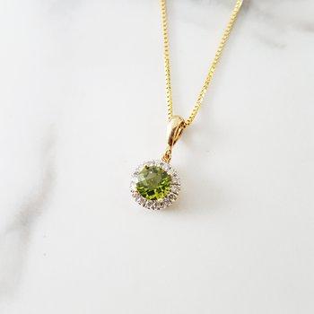 Peridot and White Sapphire Pendant