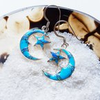 Arizona Turquoise and Inlaid Jewelry Moon and Star Earrings