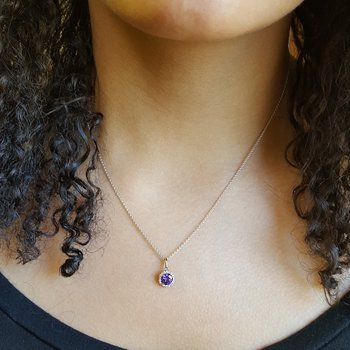 Alexandrite Halo Necklace