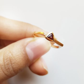 Trillion Bezel Stacker Ring