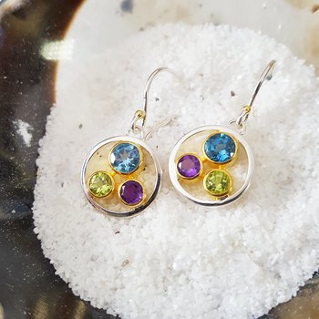 Triple Gem Earrings