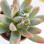 Arizona Peridot Silver Jewelry Peridot Mini AZ State Necklace