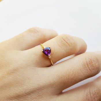 Petite Trillion Amethyst Ring