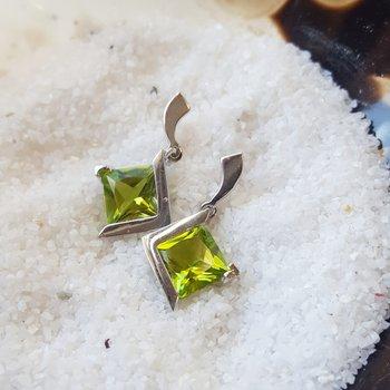 Peridot Princess Cut Earrings
