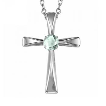 Sterling Silver Aquamarine Cross