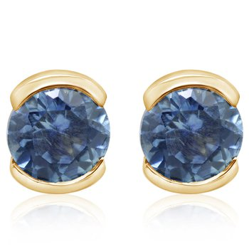 Montana Sapphire Half Bezel Earrings