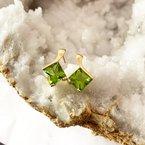 Arizona Peridot Gold Jewelry Princess Earrings