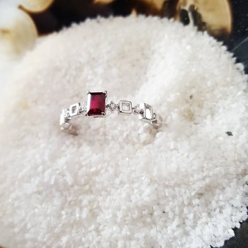Simple Garnet Step-Cut Ring with Diamonds
