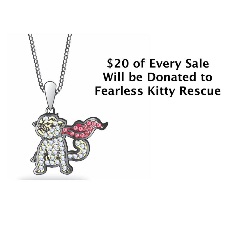 Sami Fine Jewelry Fearless Kitty Crystal Logo Pendant