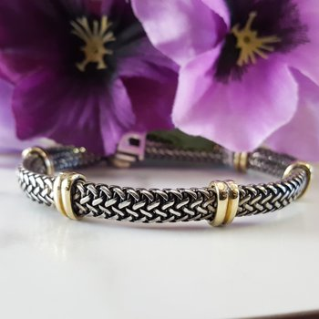 Silver & 18K Tuscan Woven Bracelet