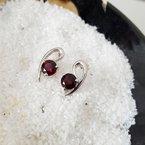 Arizona Anthill Garnet Silver Jewelry Garnet Swirl Earrings