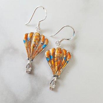 Coral Hot Air Balloon Earrings