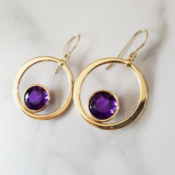 Bezel Circle Earrings