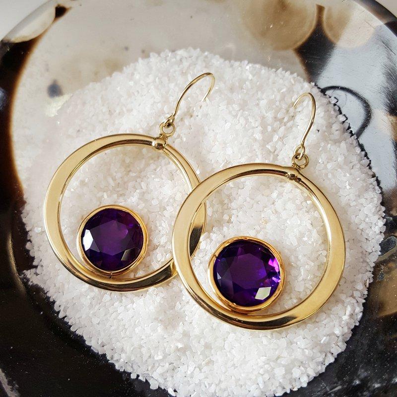 Arizona Amethyst™ Gold Jewelry Bezel Circle Earrings