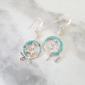 Arizona Turquoise and Inlay Gecko Earrings