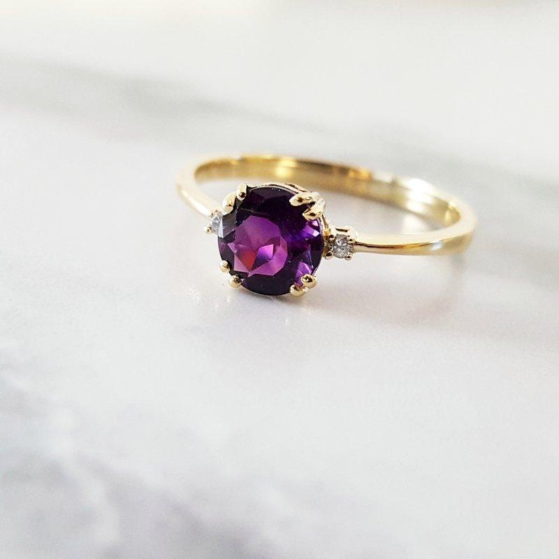 Arizona Amethyst™ Gold Jewelry Petite Double Prong AZ Amethyst Ring