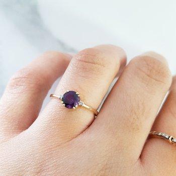 Petite Double Prong AZ Amethyst Ring