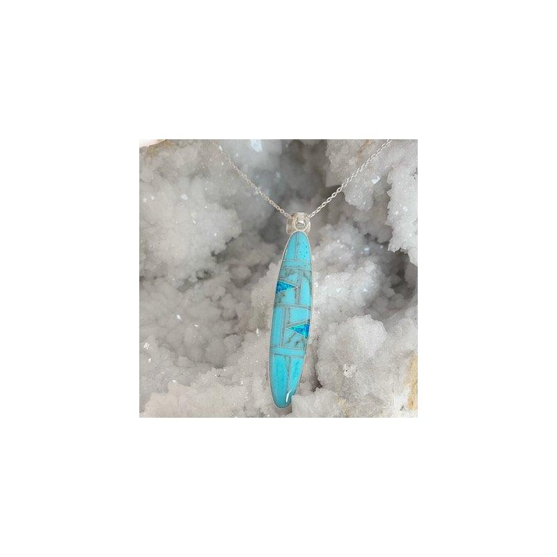 Arizona Turquoise and Inlaid Jewelry Surfboard Pendant