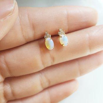 Yellow Gold Opal Petite Stud Earrings
