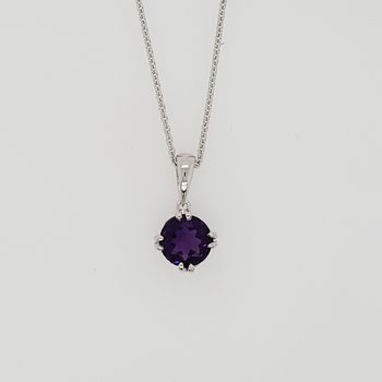Double Prong Petite Amethyst Necklace