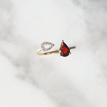 Garnet Open Fashion Ring