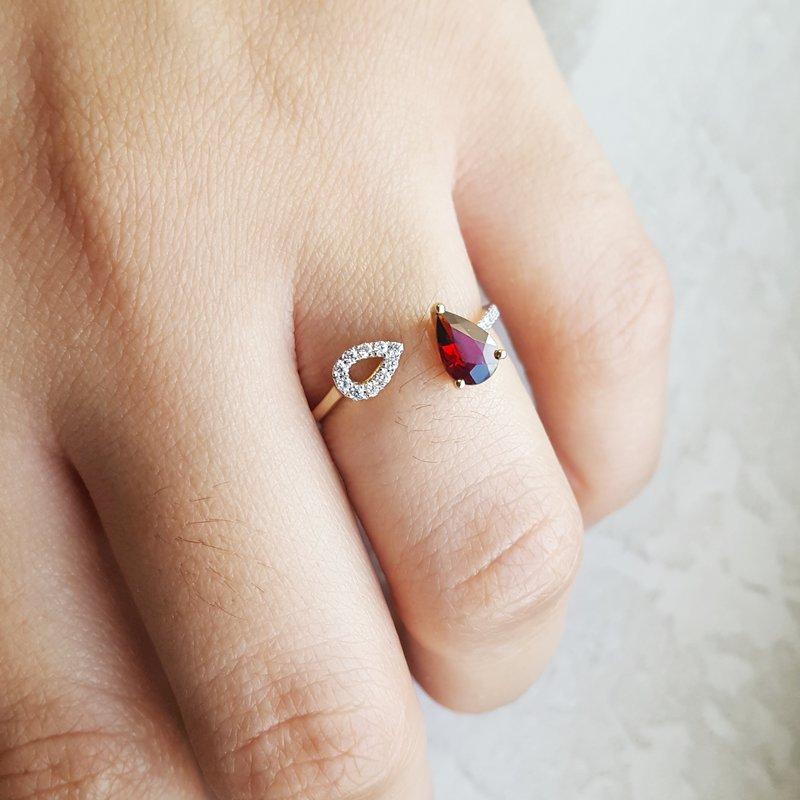 Arizona Anthill Garnet Gold Jewelry Garnet Open Fashion Ring