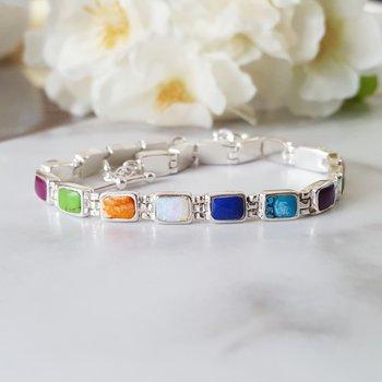 Multicolored Rectangle Link Bracelet