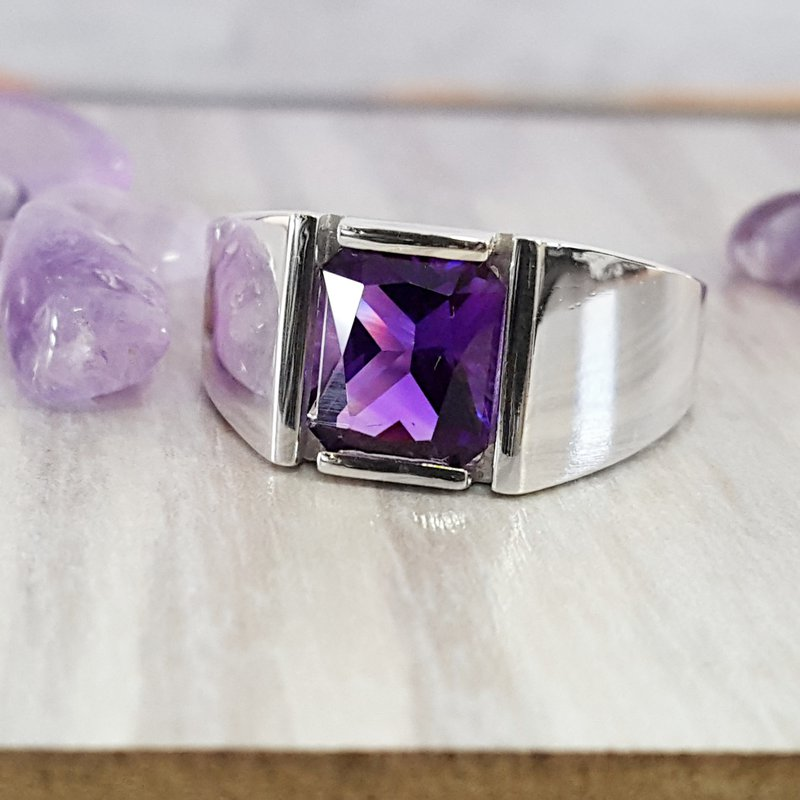 Arizona Amethyst™ Silver Jewelry Mens Amethyst Ring