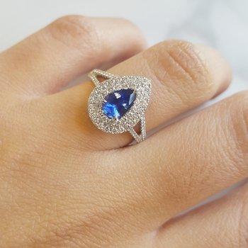 Pear Cut Sapphire Halo Ring