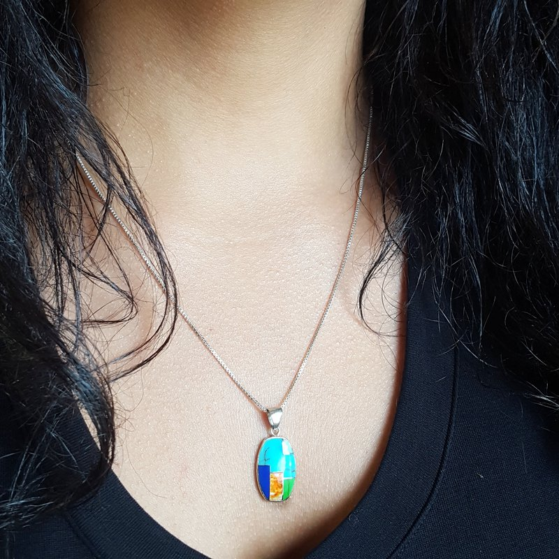 Arizona Turquoise and Inlaid Jewelry Turquoise Multicolor Oblong Necklace