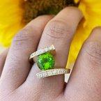 Arizona Peridot Gold Jewelry Peridot Bypass Ring