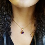 Arizona Amethyst™ Gold Jewelry Oval Cut Amethyst Minimalist Pendant