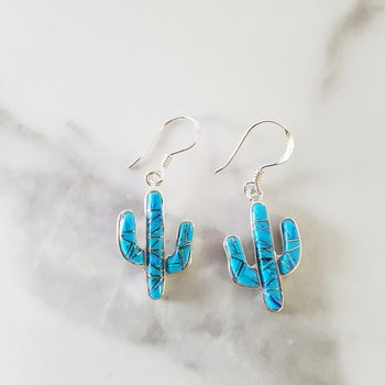 Turquoise Saguaro Cactus Dangle Earrings