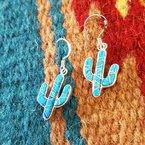 Arizona Turquoise and Inlaid Jewelry Turquoise Saguaro Cactus Dangle Earrings