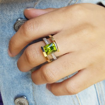 Two Tone Peridot Ring