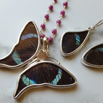 Abstract Butterfly Earring and Pendant Set