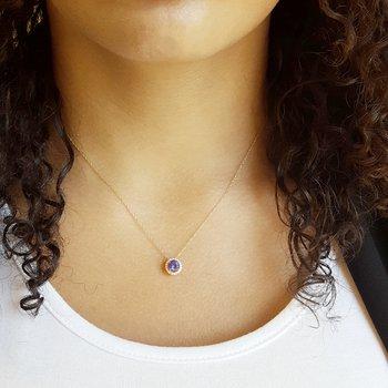 Tanzanite Halo Necklace