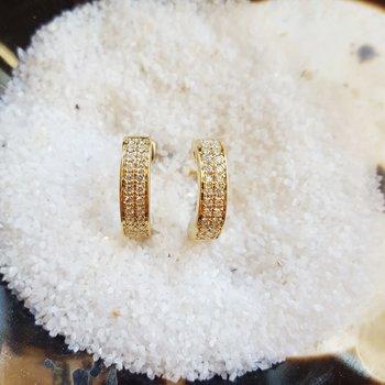 Double Diamonds Huggie Hoops