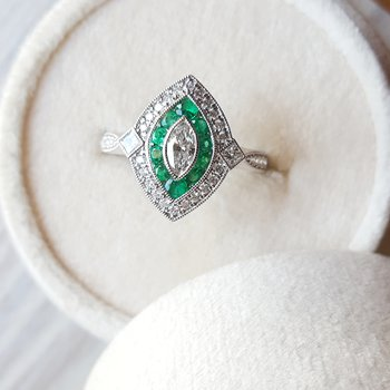 Emerald Vintage Marquise Ring