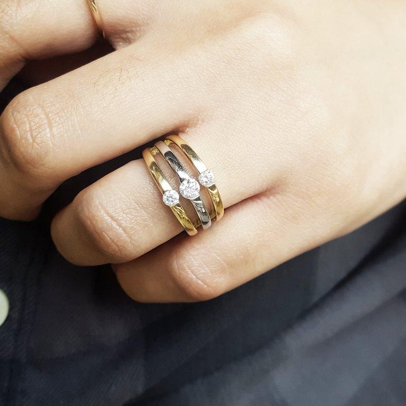Sami Fine Jewelry Two Tone 3 Row Diamond Ring