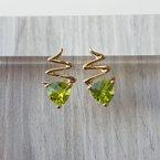 Arizona Peridot Gold Jewelry Zig Zag Peridot Earrings