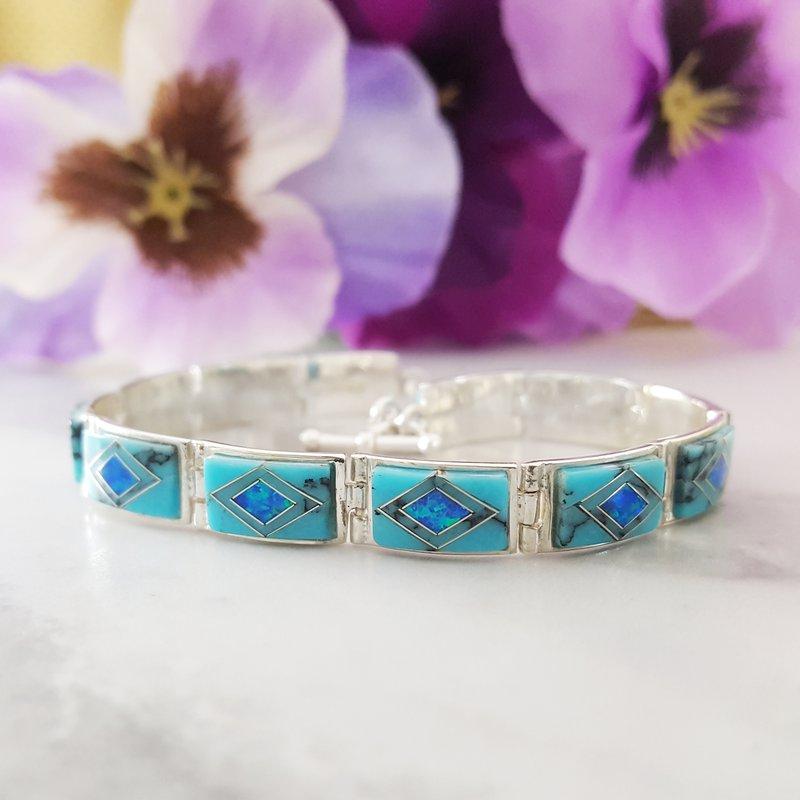 Arizona Turquoise and Inlaid Jewelry Geometric Link Bracelet