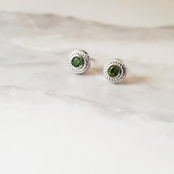 Bezel Rope Stud Earrings