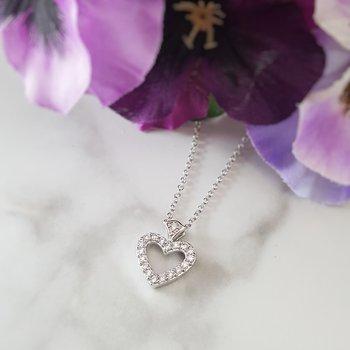 Open Diamond Heart Necklace